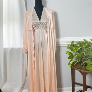 Vintage long silk night gown and robe blush pink